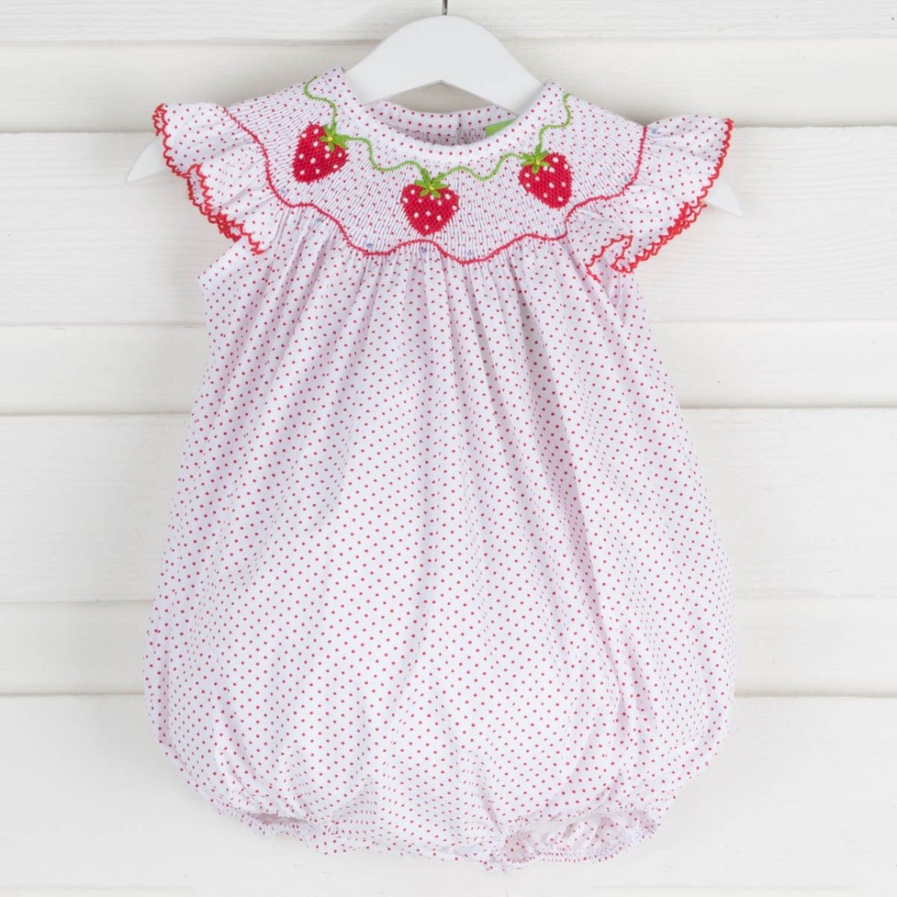 f2bafc217 Smocked Strawberry Bubble Red Polka Dot