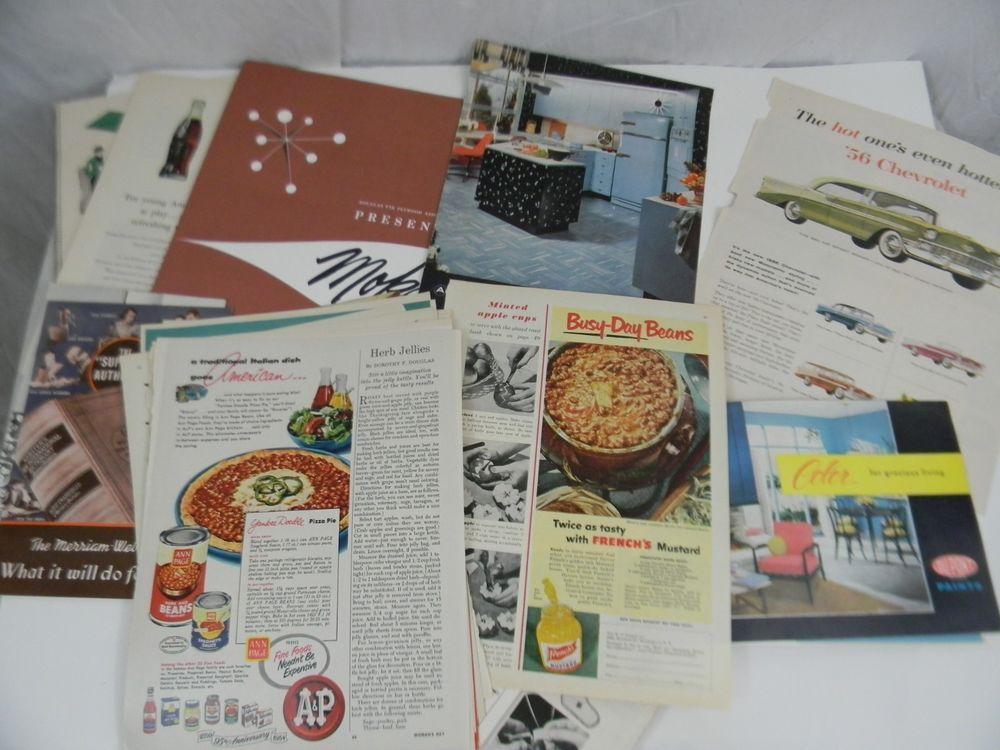 Vintage Lot of Magazine Ephemera for Advertisements Cars Household Pics Recipes