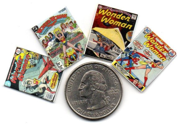 WONDER WOMAN COMICS  Dollhouse sized 1:12 scale Carefully reproduced by CDHM artisan  comprises  4 comics - full glossy front page & printed colored back page showing an appropriate cartoon / image / advertisement - non opening Please note that these miniatures are greatly reduced from the original size. Due to the reduction in size, there is a loss of some clarity of the text. miniature dolls house size collectors item unsuitable for children due to small size  photo shows miniature set…