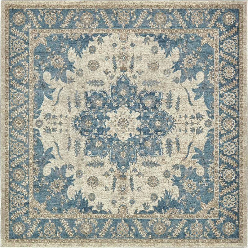 Available 8x8 Square Jaiden Cream Blue Area Rug M D