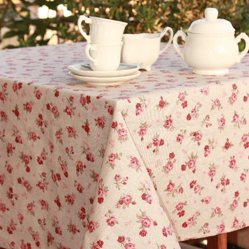 Mantel Antimanchas De Lino Con Rosas Rojas. ListMantelsMadridStain Resistant  TableclothsFor ...