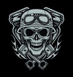 riders skulls with machine and piston head vector crânios