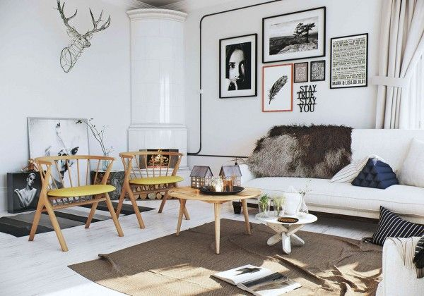 Visualization of scandinavian style apartment located in norway by image box studios