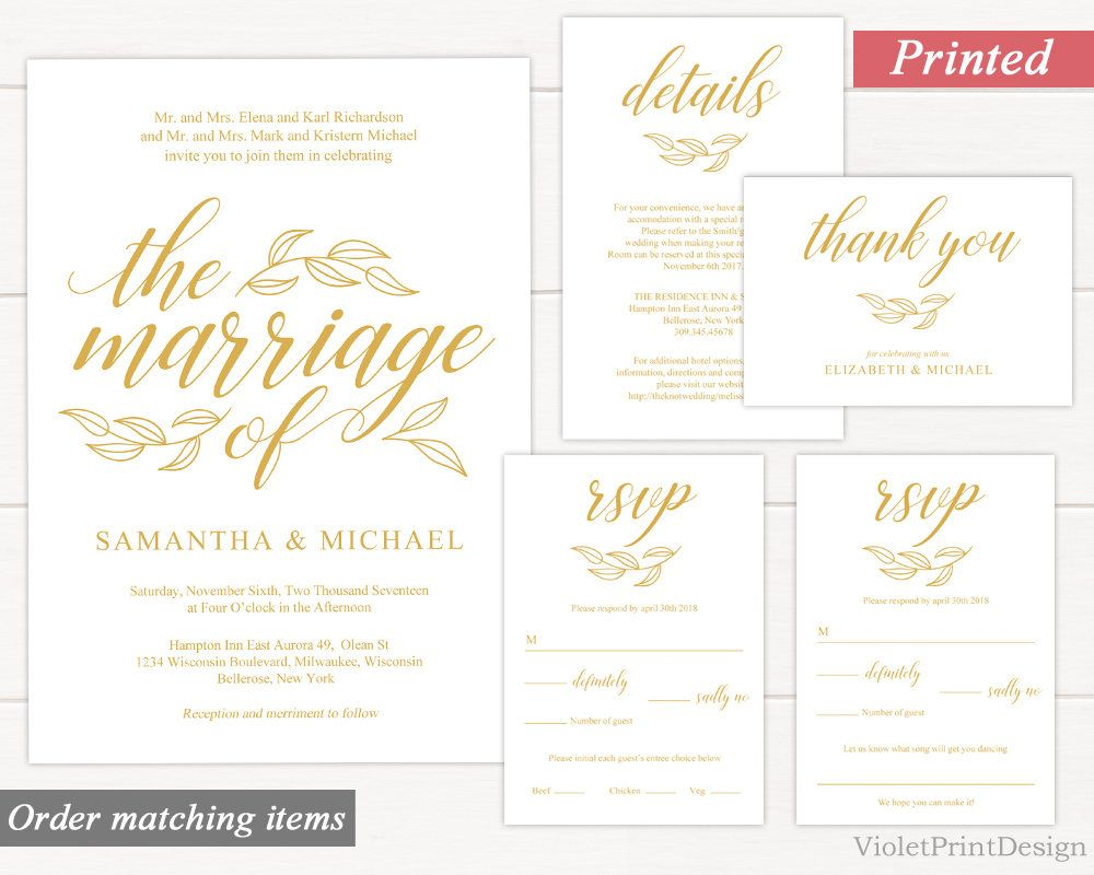 Gold Wedding Invitation Set. Printed Gold Wedding Invitation Kit ...