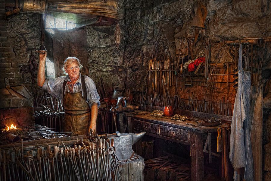 Blacksmith Working The Forge Photograph Blacksmith