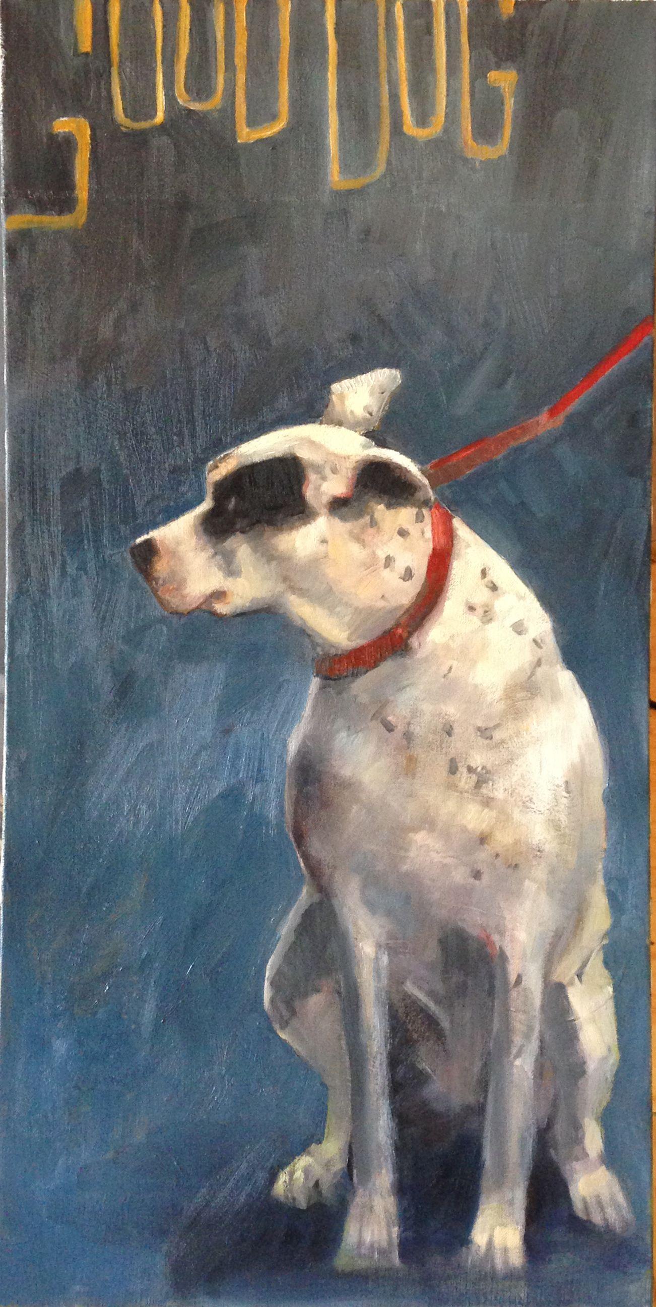 """Good Dog"" 30x15 oil Hilarie Lambert (My husband's favorite piece)"