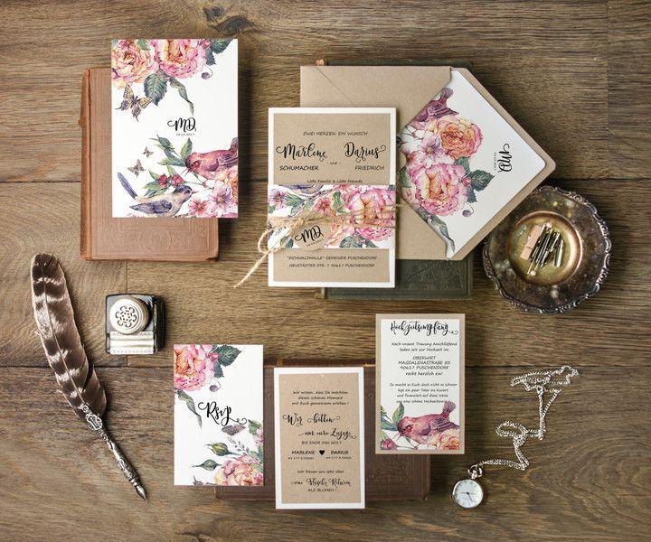 Einladungskarten Vintage Blumen Hochzeitseinladungen 20 Stuck