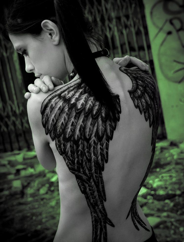 Hot Babe With Wings Tattoo Pretty Girl With Angel Wings Tattoo