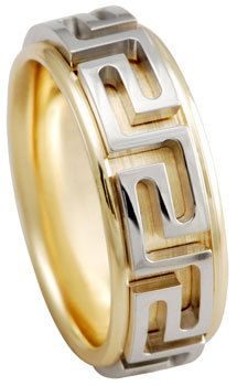 Two Tone Band Gold Ring Greek Key Wedding Anniversary Bands Man Rings Mens This High Quality