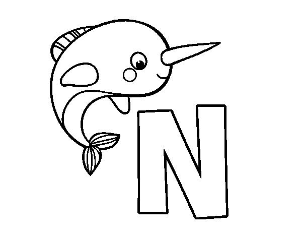 Dibujo del Abecedario Letra N para colorear Abecedario para imprimir Dibujos Letras del