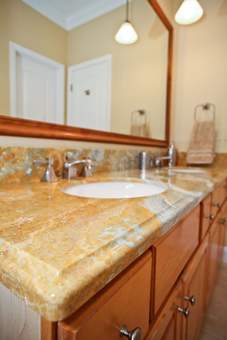 Tan White Grey Granite Bathroom Countertop With White