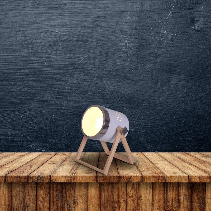 Tischleuchte Scheinwerfer Weiss Mit Holz Gestell Nave Tim E27 Nave Nach Marke Beleuchtung Lampentisch Tischleuchte Wohnraumleuchten