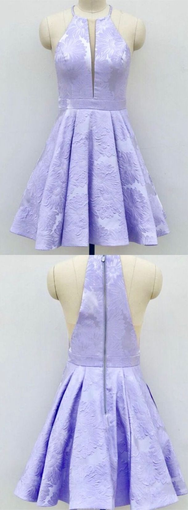 Aline crew aboveknee lilac satin printed homecoming dress with