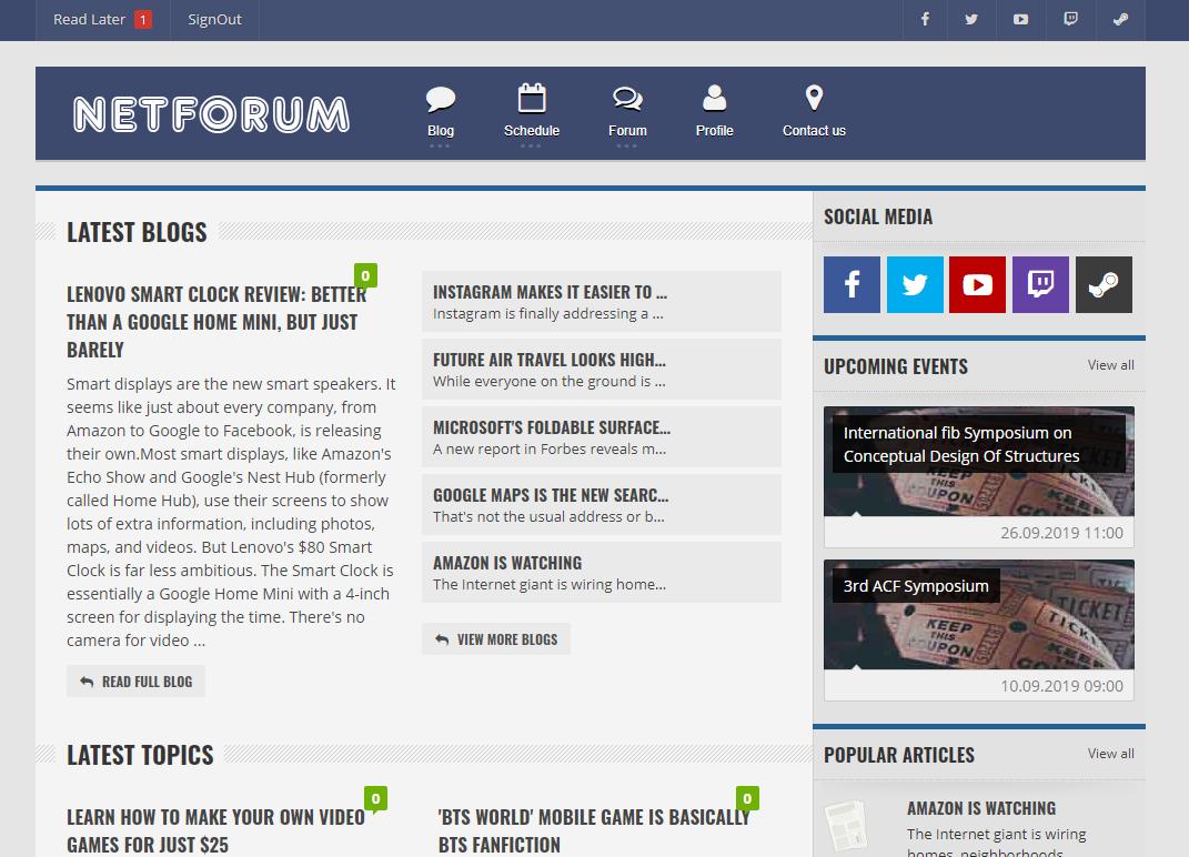 NetForum Forum & Blog Application Blog schedule