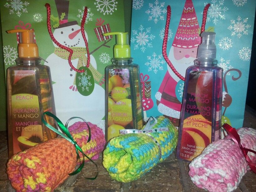 Crocheted dishcloth and hand soap, teacher gifts, 2013
