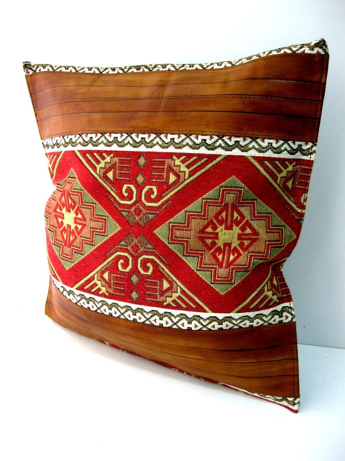 Handmade leather and tissue combination decorative pillow brown