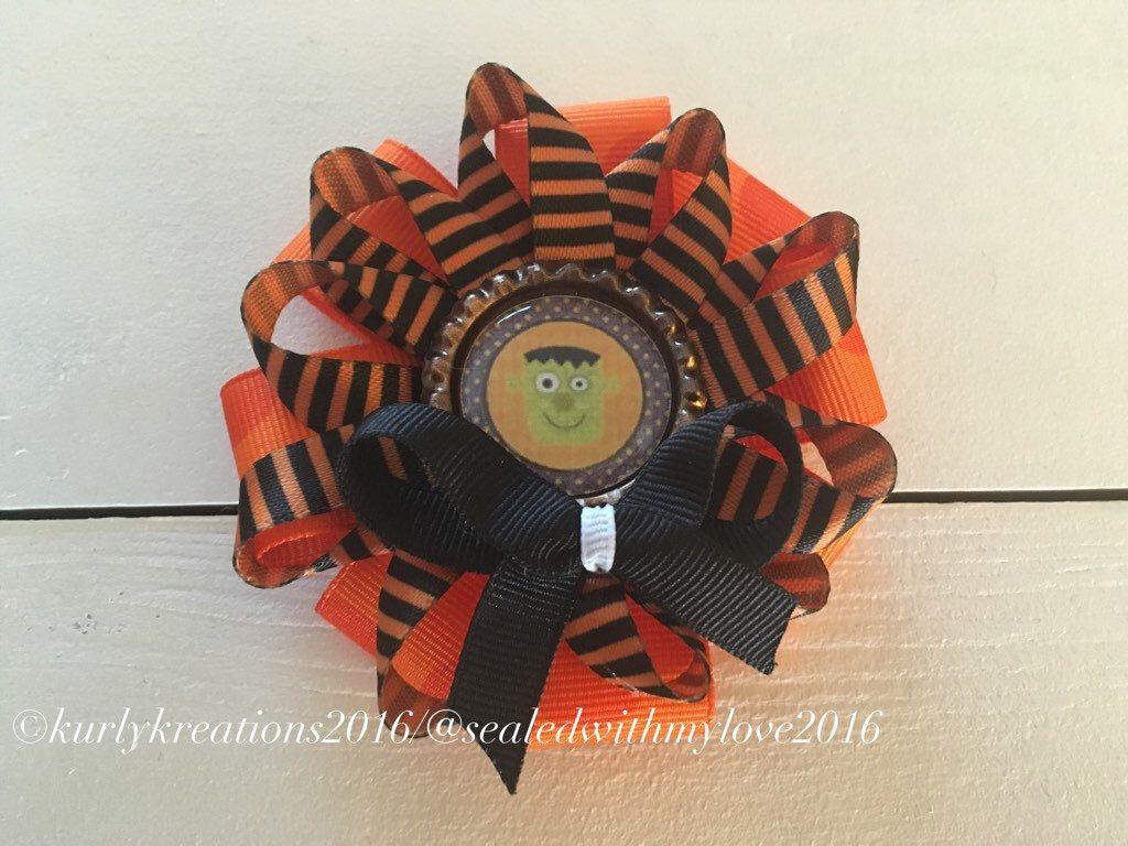 halloween hair clip, holiday hair accessories, monster clip, orange