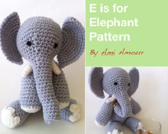 Amigurumi Patterns Elephant : Baby elephant amigurumi crochet pattern pdf doll not included