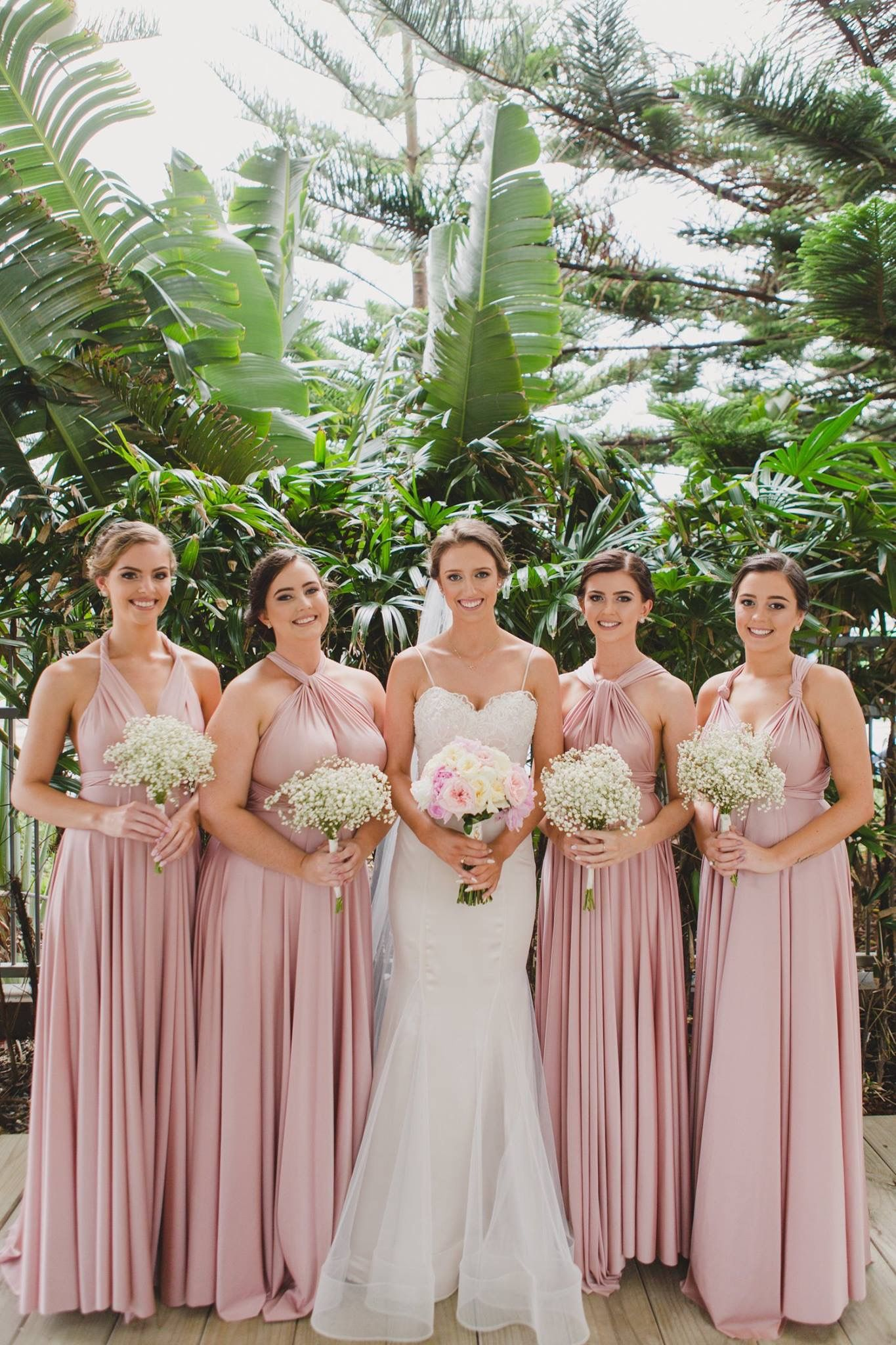 Pink multiway bridesmaid dress  Convertible Bridesmaid Dresses to flatter bridesmaids of every shape