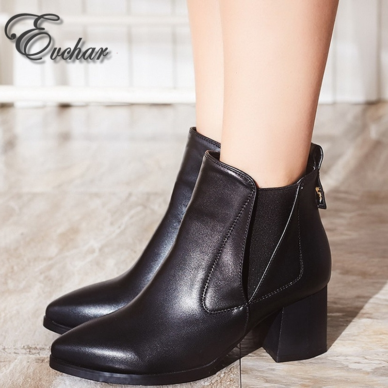 41.60$  Watch now  - New Arrival  Elastic Band Slip On Black BROWN Women's ANKLE Boots Female Chelsea Boots  Women Short Boots Shoes Woman SIZE 33-41