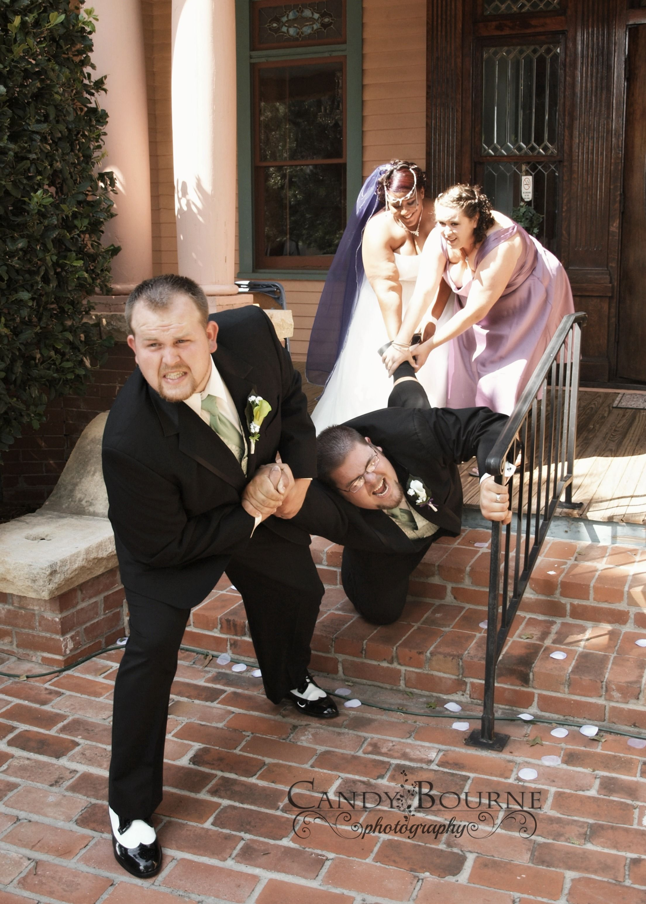 candy bourne photography funny wedding pose best man against bride