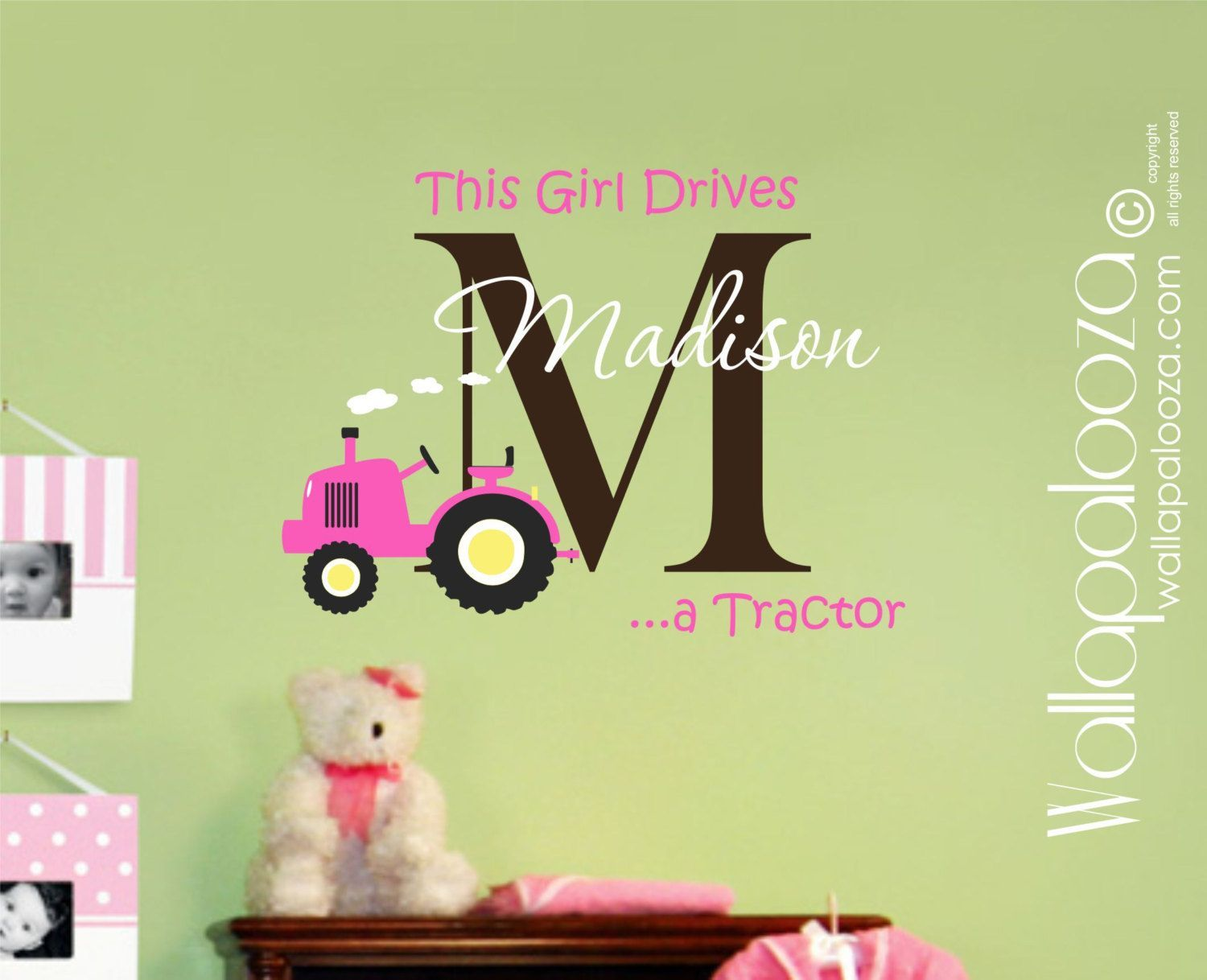 Custom name Tractor Kids Wall Decal Vinyl by WallapaloozaDecals ...