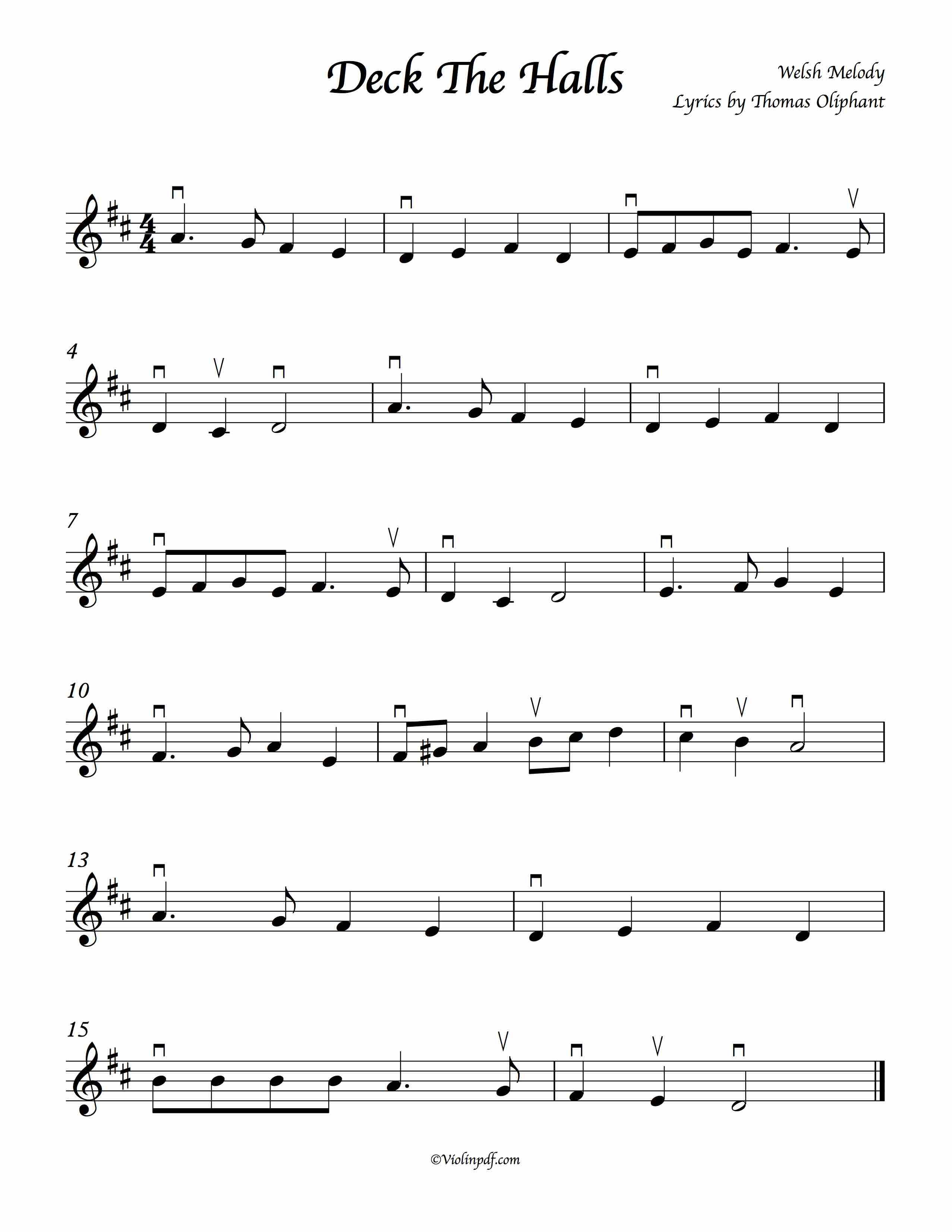 deck the halls violin sheet music with bowings an old welsh melody with lyrics by