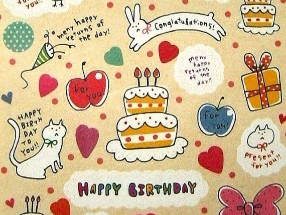Conglatulations Meny happy returns of the day – Japanese Birthday Cards