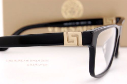 c48922584147 Brand New VERSACE Eyeglasses Frames 3211 GB1 BLACK for Men 100% Authentic  SZ 55