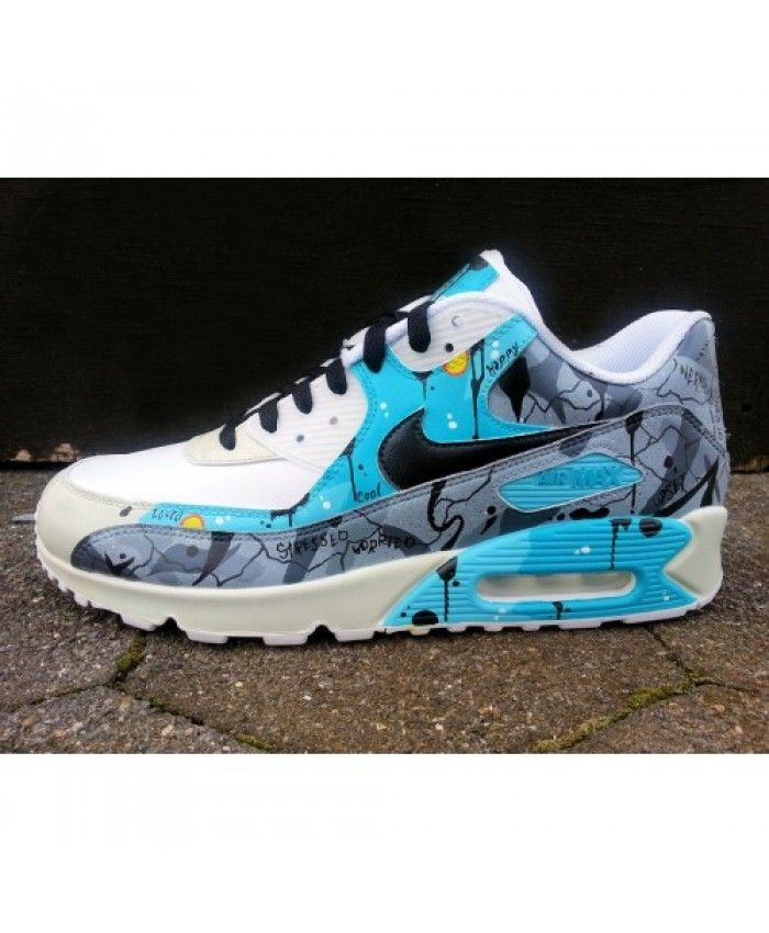 ba9709a4db Vente Chaussures Sport Nike Air Max 90 Candy Drip Bleu Blanc Noir Trainer  France Boutique
