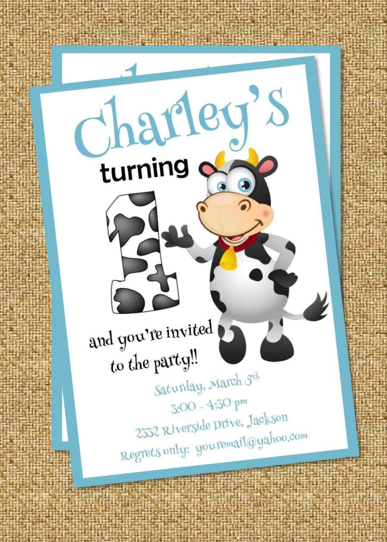 Birthday Invitation | Farm Birthday Invite | Cow First Birthday ...