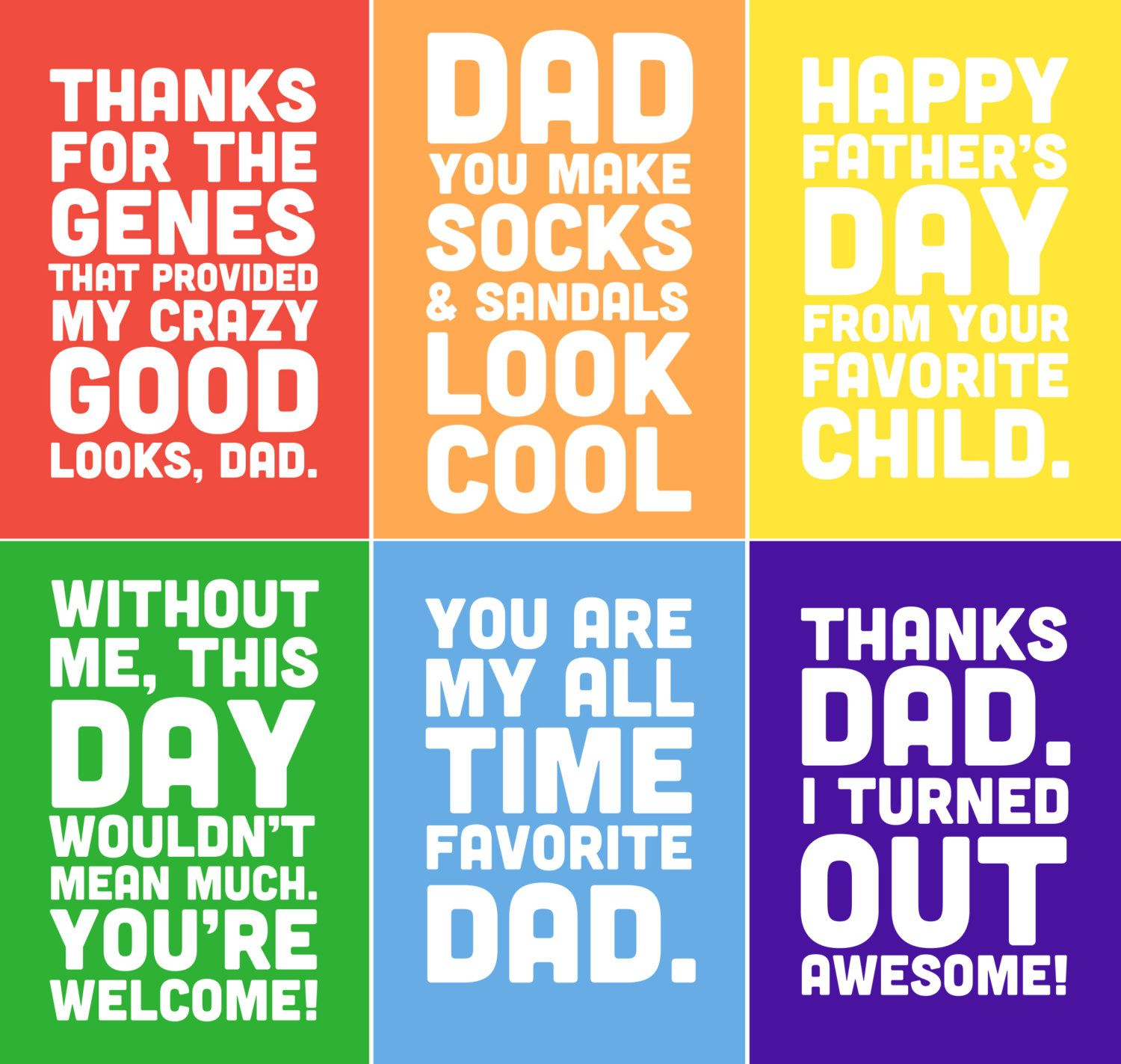 Funny Father S Day Printable Cards 5x7 Includes 6 By Alexazdesign 7 00 Fathers Day Quotes Father S Day Printable Father S Day Diy