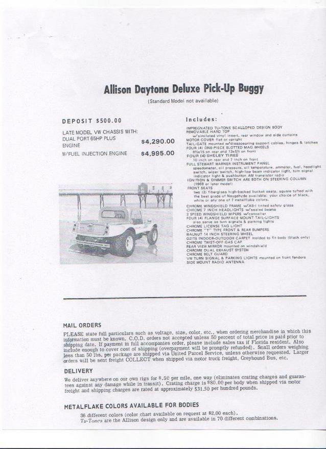 Vintage Allison Brochure | Buggy | Beach buggy, Cars motorcycles, Dune