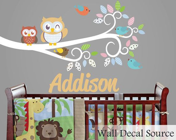 Nursery Wall Decal With Owls Monogram Wall By WallDecalSource - Monogram wall decal for nursery