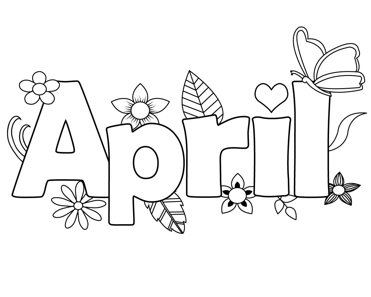 Printable April Coloring Pages Online Free