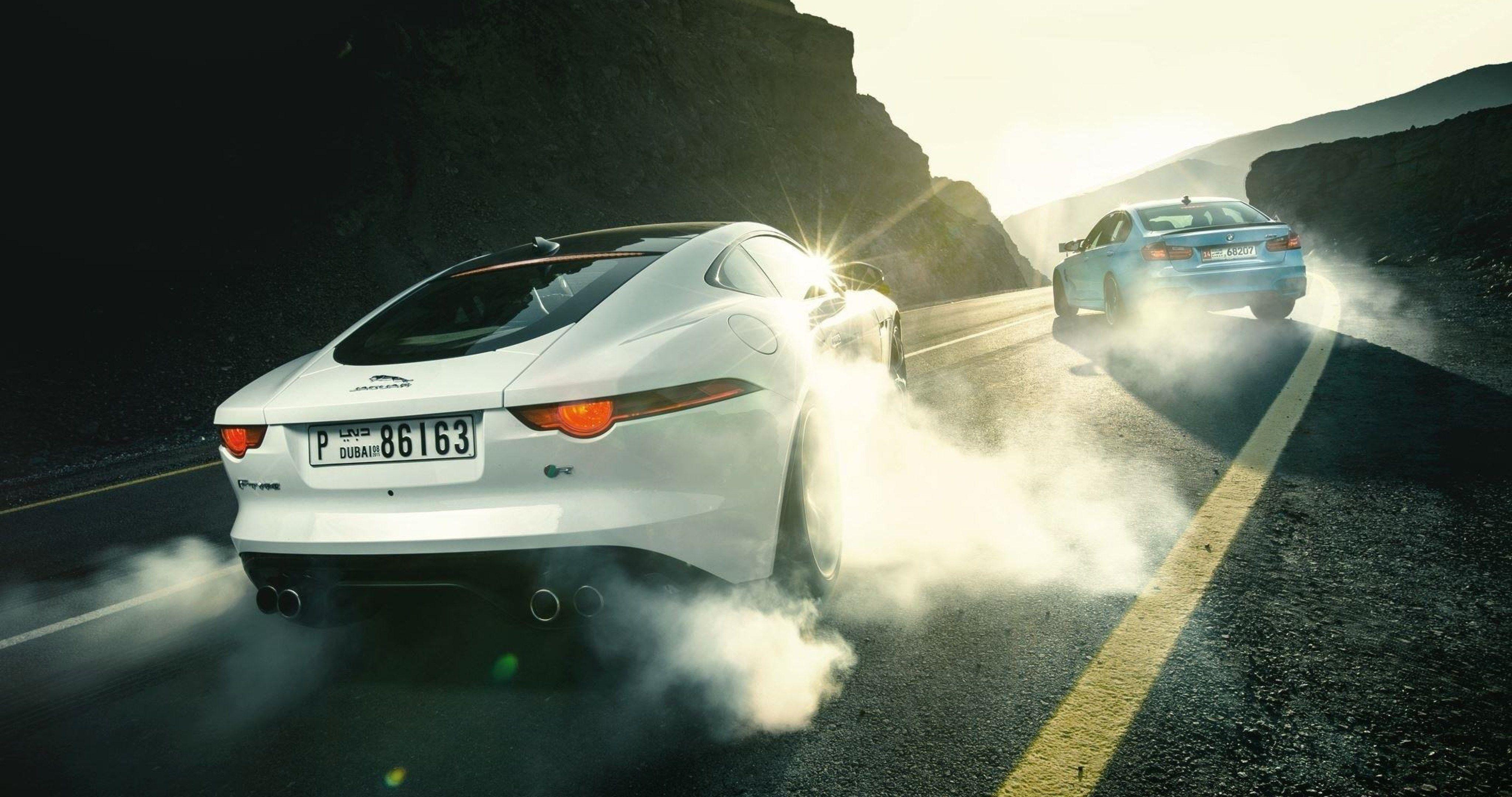 Jaguar F Type R And Bmw M3 Drifting 4k Ultra Hd Wallpaper
