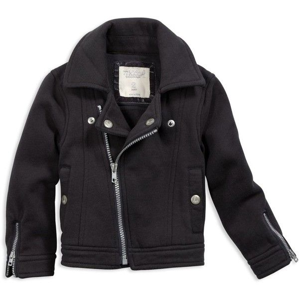 Toddler Girls rad fleece biker jacket (Chalkboard) (265 ARS) ❤ liked on Polyvore featuring baby, baby clothes, kids, kids clothes, baby girl, clothing & accessories and tops