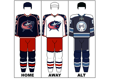 Columbus Blue Jackets - Navy Blue, red, silver, white