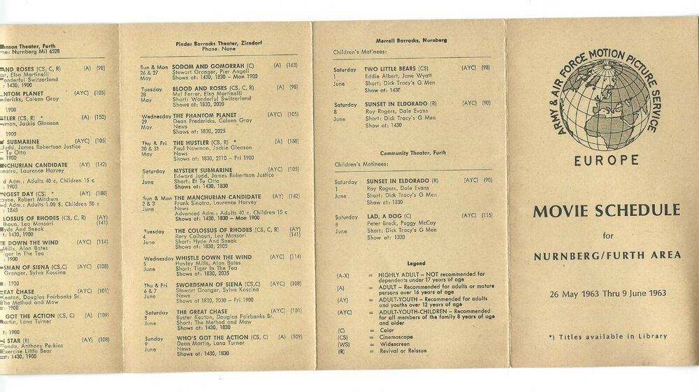 1963 Movie Schedule Army Air Force Motion Picture Service