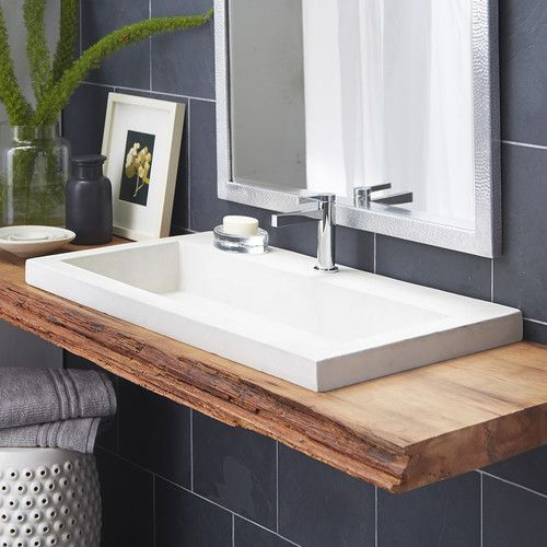 Trough Stone Rectangular Drop-In Bathroom Sink in 2018 House and
