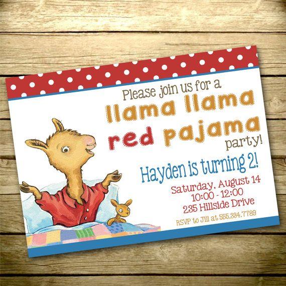 Llama Llama Red Pajama Digital Birthday Invitation Print Your Own