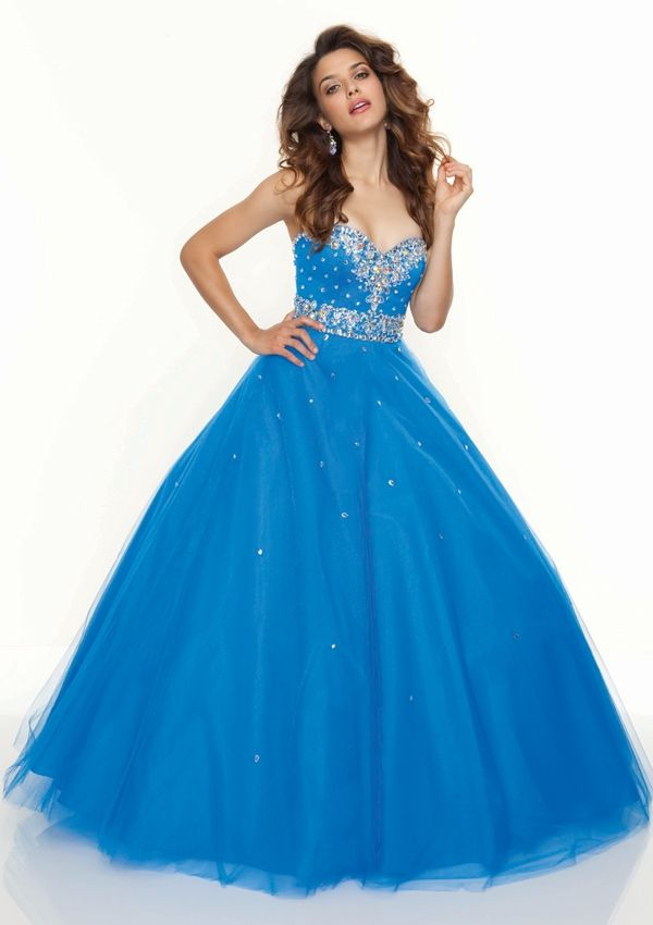 Puffed Pleated Sweetheart Ball Gown Prom Dress | Let's Go Dancing ...