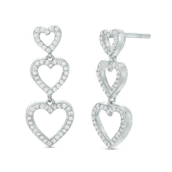 491637eb6 3/8 CT. T.W. Diamond Triple Heart Drop Earrings in Sterling Silver ...