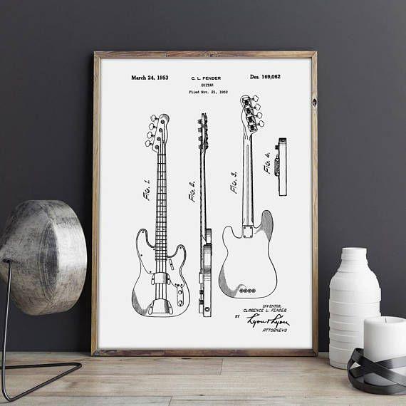 Precision Bass Fender Guitar Art Fender Bass Decor Jazz Bass Guitar Fender Wall Art Bass Blueprint Fender Wall Decor Guitar Art Vintage Prints Retro Art