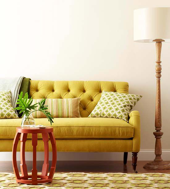 Expert Art Arranging Tips   Yellow couch, Tufted sofa and Walls