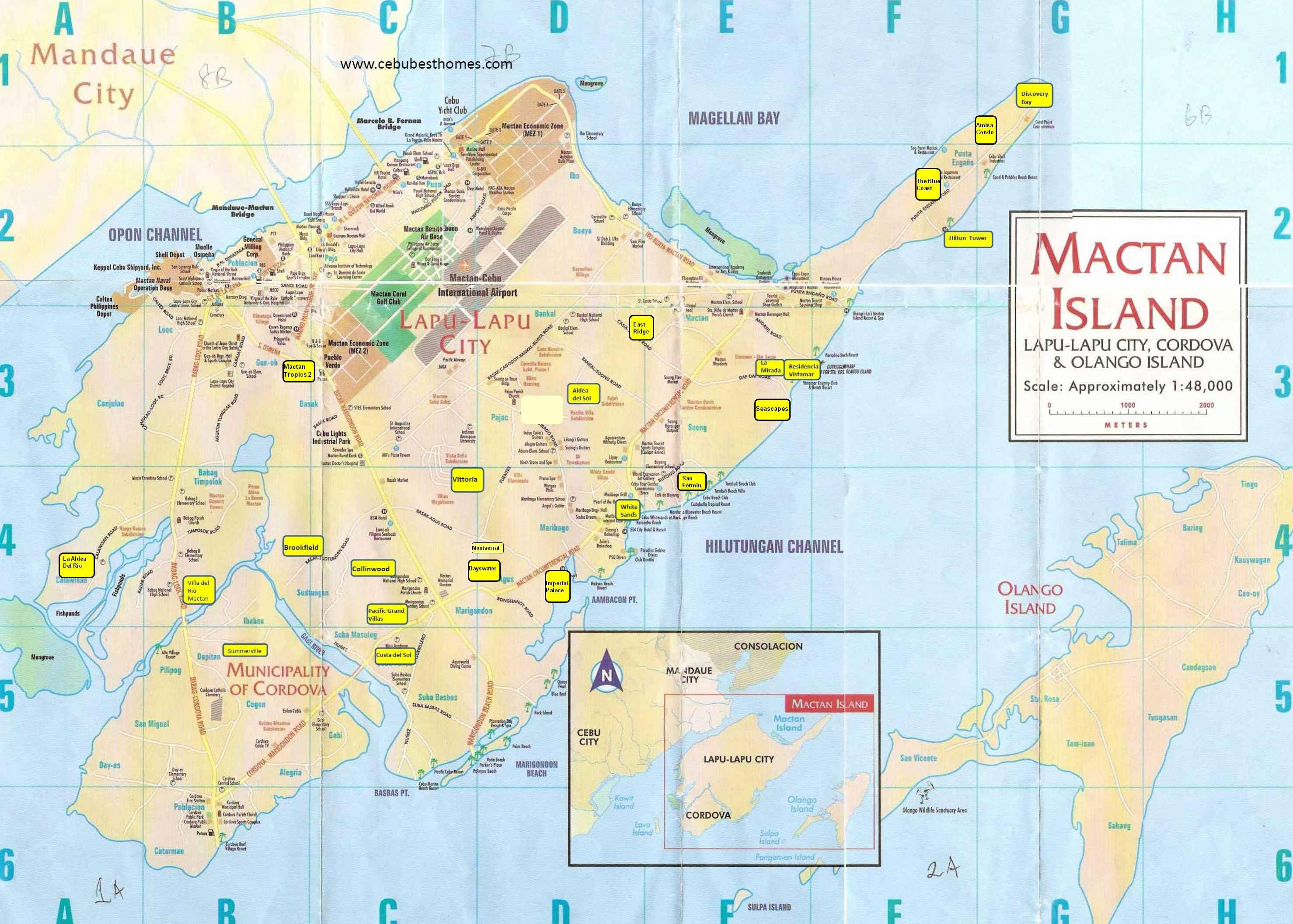 Printed Map Of Mactan Island Mactan Island Mactan Lapu Lapu City