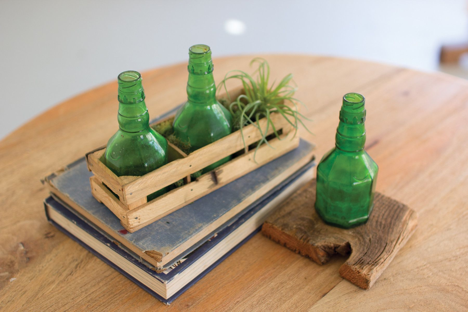 Set of 3 Reclaimed Green Glass Bottles with Wooden Crate