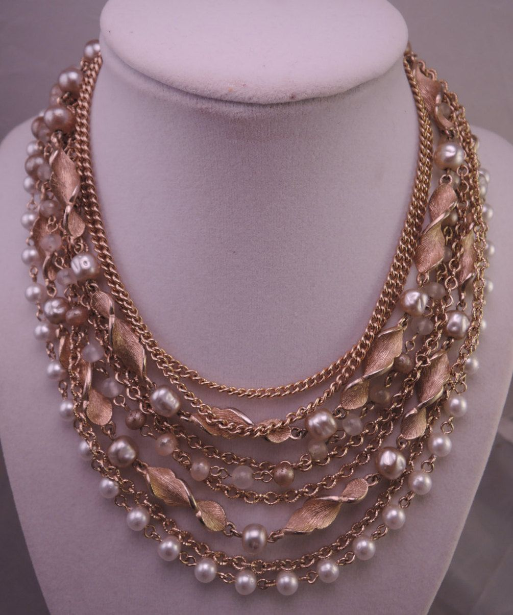 9 Strand Signed Kramer Gold Tone and Faux Pearl Necklace 1950-60s by thejeweledbear on Etsy