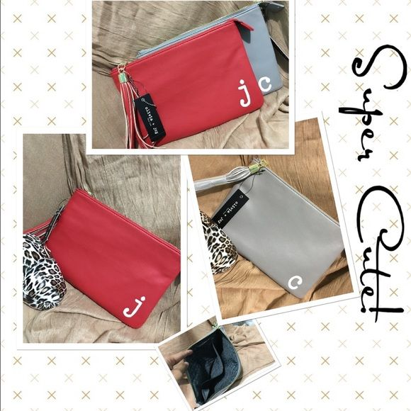 ✨Reduced✨Monogram Pouch by Olivia & Joy Welcome You have cute pouch monogram with the letter j and c.   New with tags.✨  J  Red color C Gray color  This listing is for RED POUCH. Olivia + Joy Bags