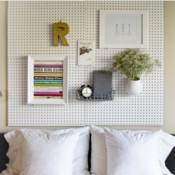 Simple DIY pegboard headboard. great for bunk beds for hanging lamps, bin for glasses etc.